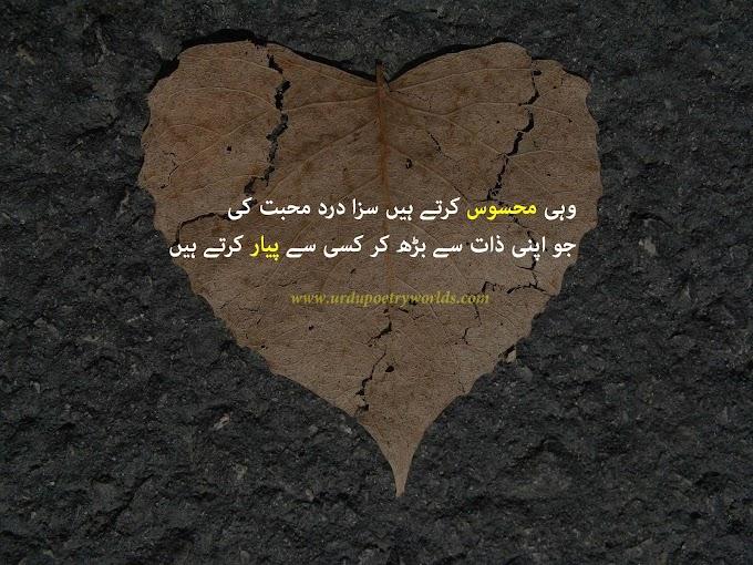 Wohi Mehsos krty Hain Saza Drd Mohabbat Ki/ Urdu Sad Poetry