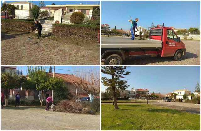Σαγιάδα: Γυναίκες καθάρισαν εθελοντικά την πλατεία του χωριού