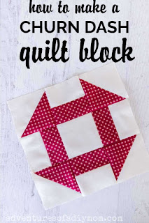 red and cream churn dash quilt block