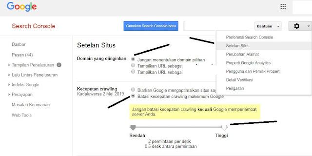 Gambar Mengatur Kecepatan Perayapan Google Webmaster
