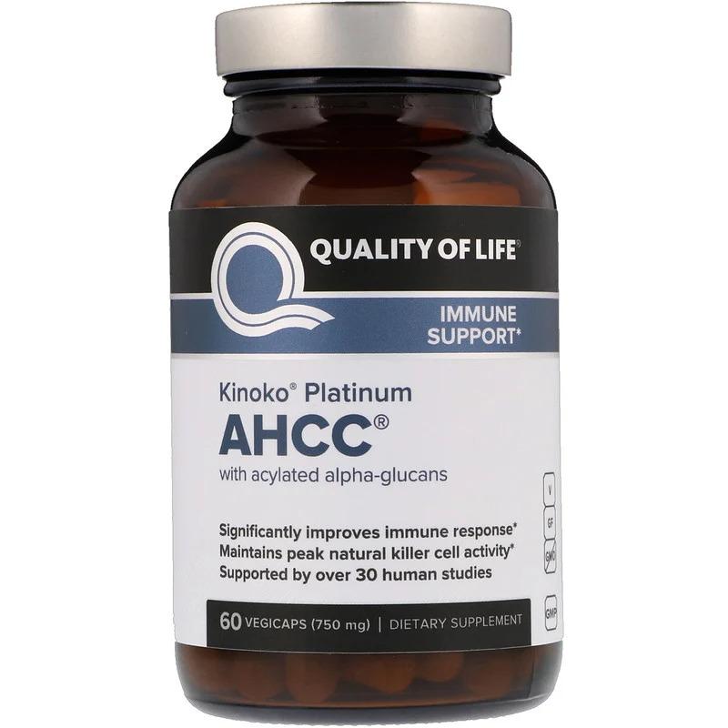 Quality of Life Labs, Kinoko Platinum AHCC, иммунная поддержка, 750 мг, 60 растительных капсул