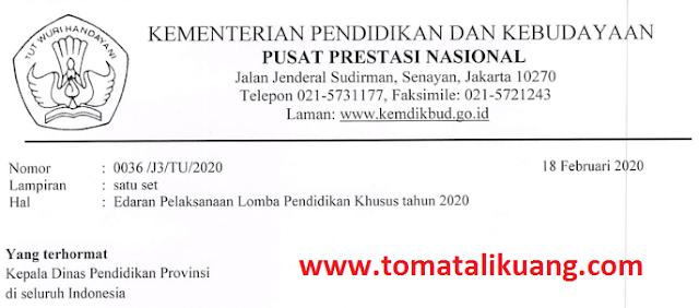 informasi pelaksanaan lomba pendidikan khusus sdlb smplb smalb tahun 2020; www.tomatalikuang.com