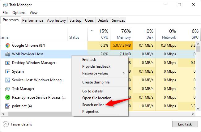 البحث عن اسم العملية عبر الإنترنت من إدارة مهام Windows.