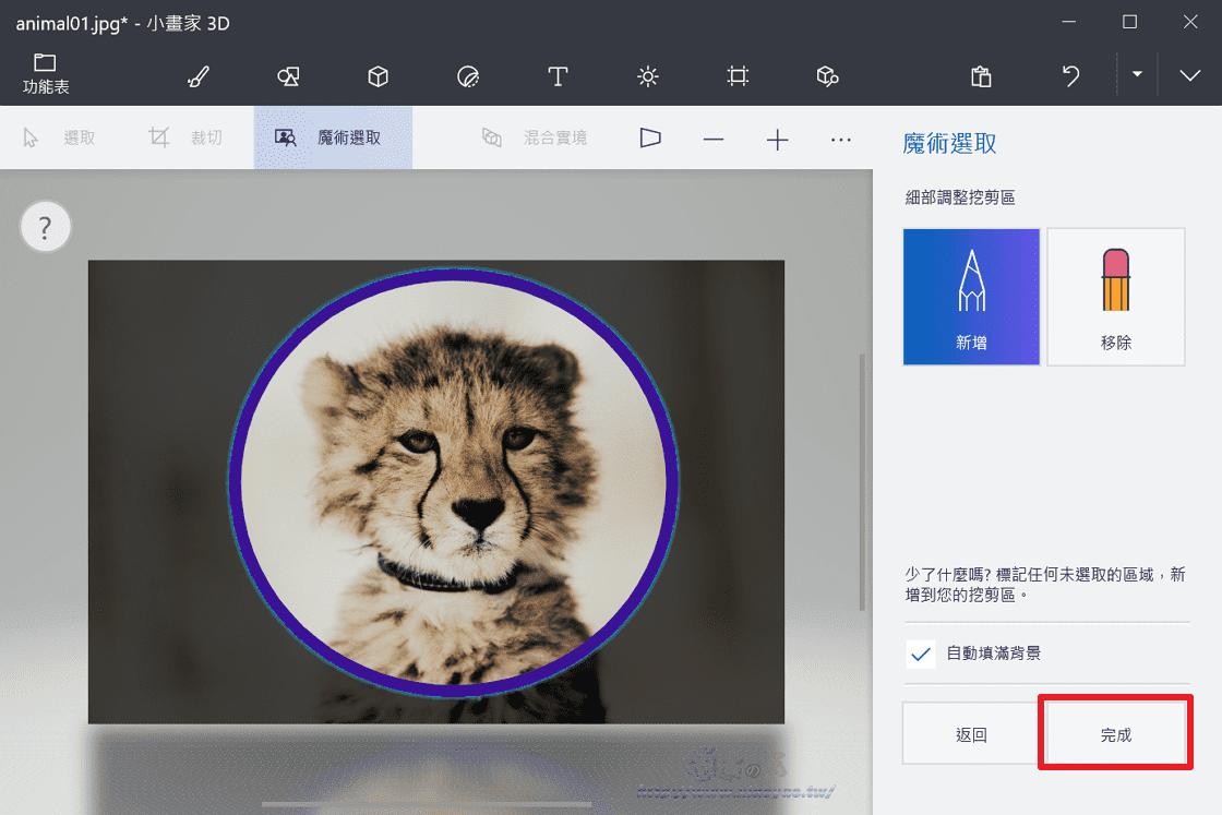 小畫家3D使用「2D圖形+魔術選取」製作圓形頭像