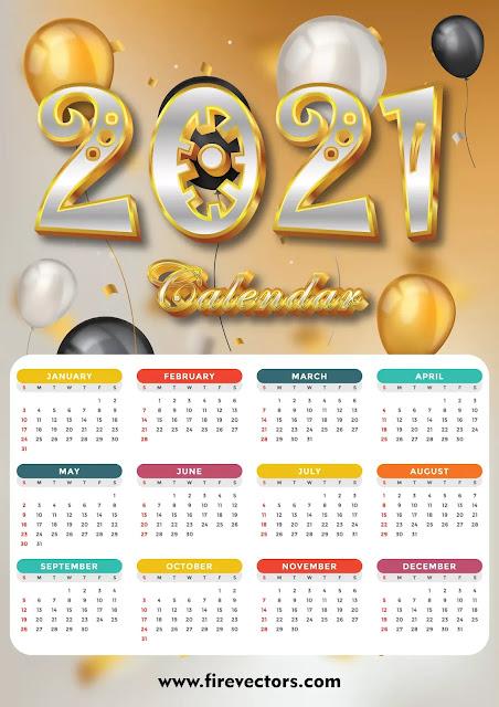 Calendar 2021 Vector Free Download