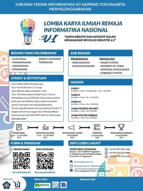 Lomba Karya Tulis Ilmiah Nasional 2019 di AKPRIND Yogyakarta