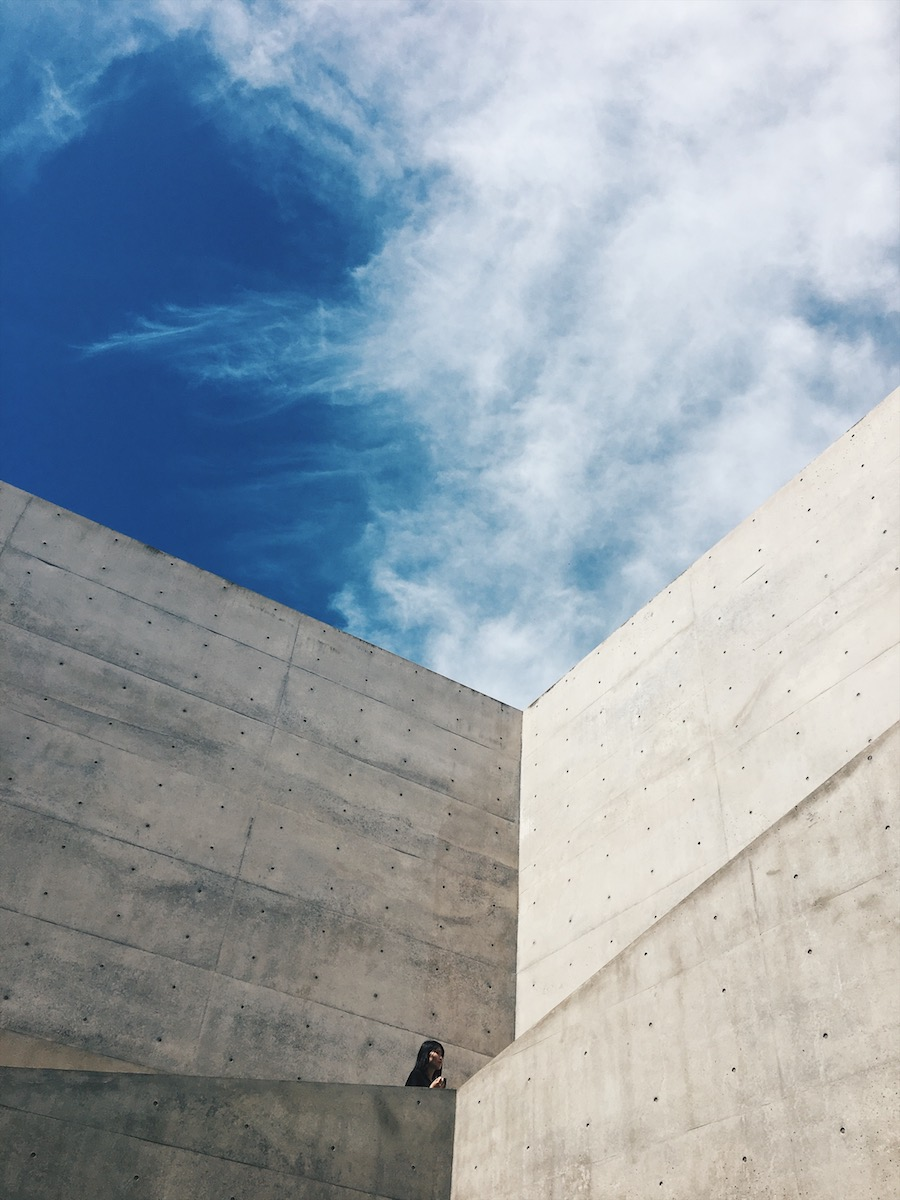 Beautiful cement walls of the Chichu Contemporary Art Museum on Naoshima Island Japan