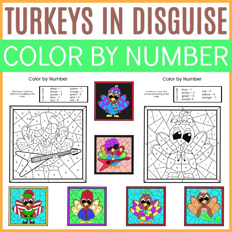 Color by number turkeys in disguise craft for Thanksgiving