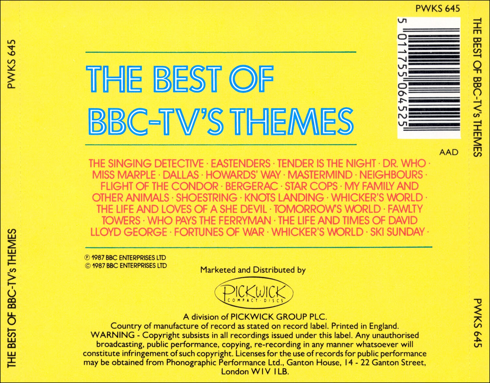 Music Of My Soul: V C -1987-The Best Of BBC TV's Themes(Pick