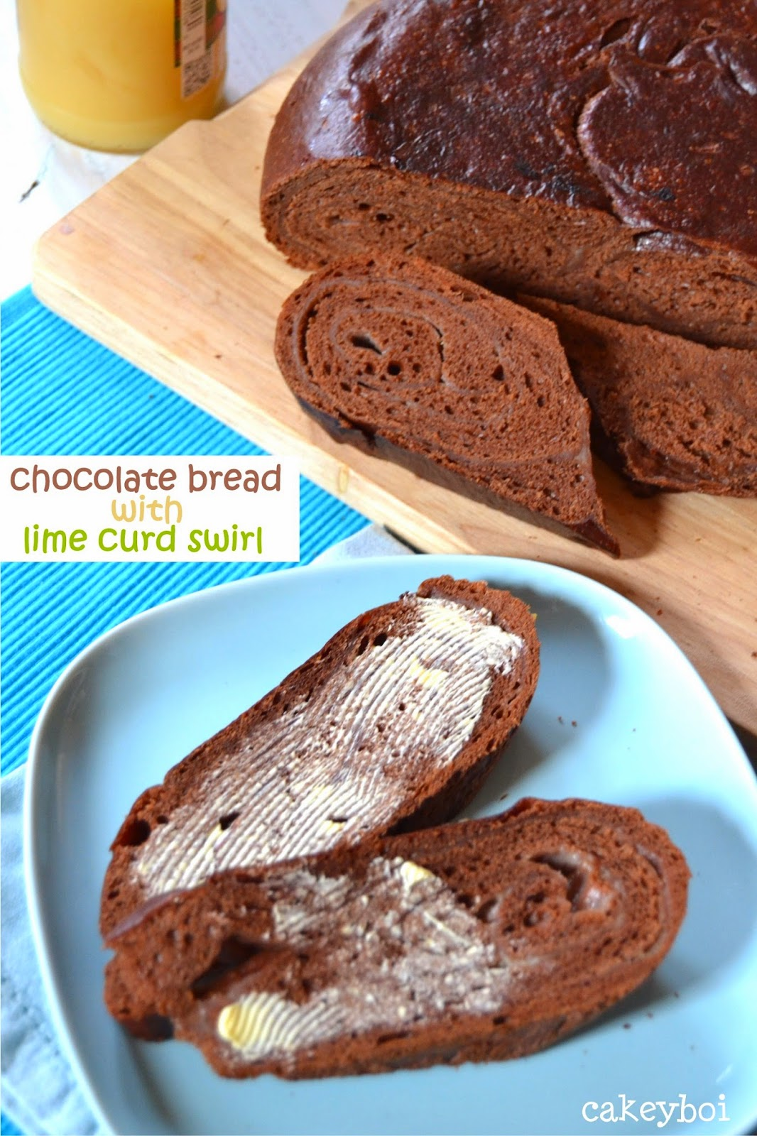 chocolate bread with lime curd swirl