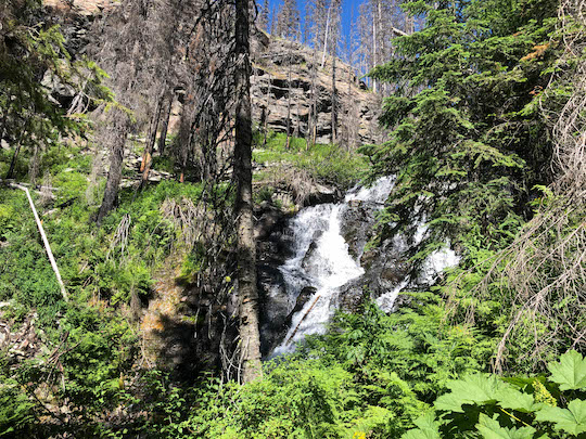 Waterfall at Snyder Lake in Glacier National Park
