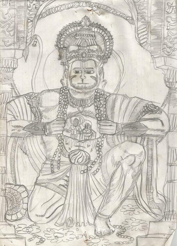 Gods Own Web: Lord Hanuman Pencil Sketch   Lord Hanuman ...