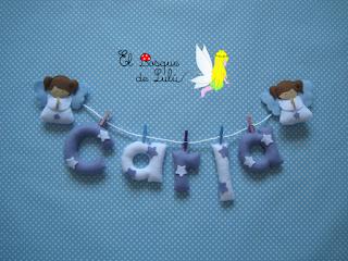 nombre-fieltro-felt-feltro-Carla-elbosquedelulu-angelitos-estrellas-decoración-infantil-name-banner-regalo-original-personalizado