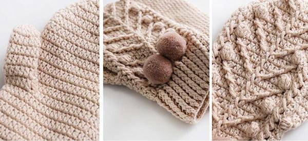Crochet mittens details