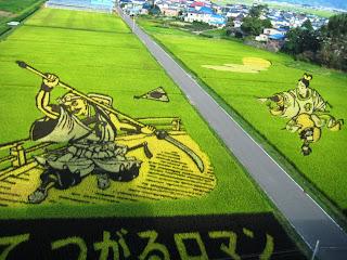 2010 Benkei & Yoshitsune Inakadate Rice Field Art 平成22年 「弁慶と義経」 田舎館田んぼアート