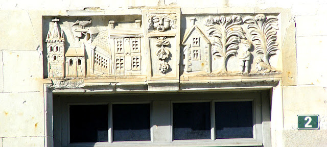 Folk art relief frieze over a window in a village house, Indre et Loire, France. Photo by Loire Valley Time Travel.