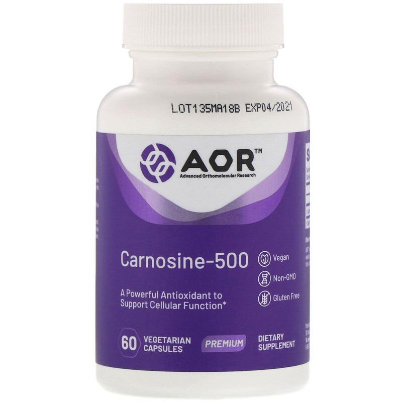 Advanced Orthomolecular Research AOR, Карнозин-500, 60 растительных капсул