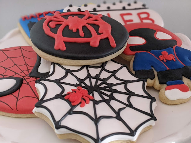 Miles Morales Spiderman cookies by Twenty One Sweets for Caleb's 5th birthday