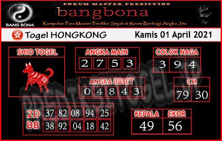 Prediksi Bangbona HK Kamis 01 April 2021