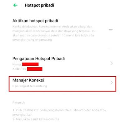 Menu Manager Koneksi