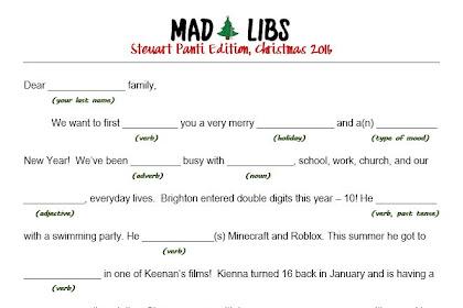 Holiday Mad Libs