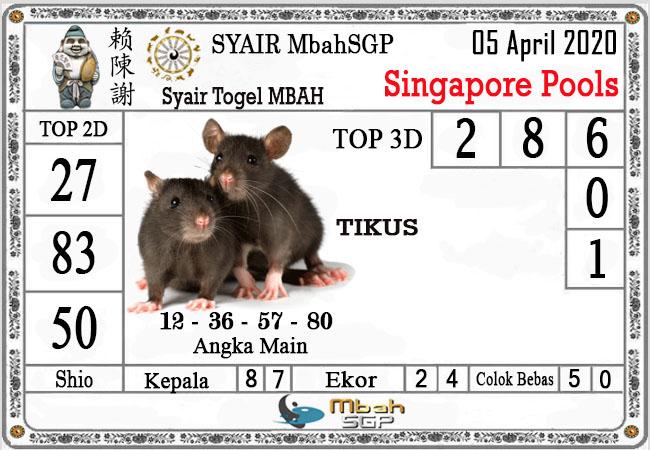 Prediksi SGP Minggu 05 April 2020 - Syair Mbah SGP