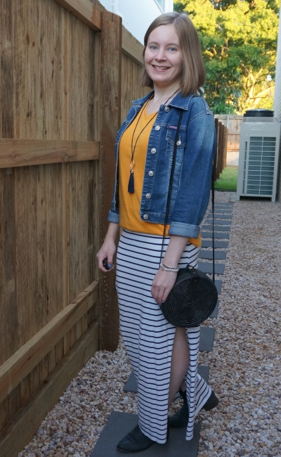 striped maxi skirt mustard v-neck tee, denim jacket, ankle boots and round rattan straw bag | away from blue