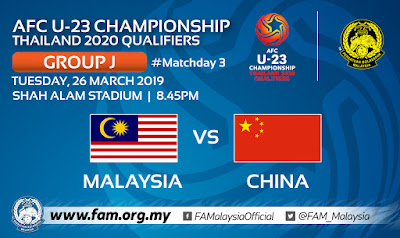 Live Streaming Malaysia u23 vs China u23 AFC U23 2020 Qualifiers 26.3.2019