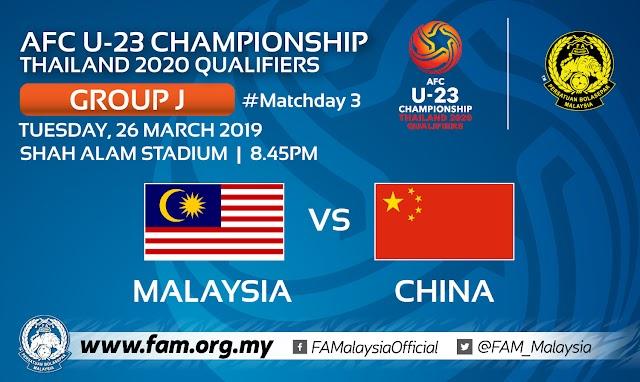 Live Streaming Malaysia u23 vs China u23 AFC U23 2020 Qualifiers 26.3.2019