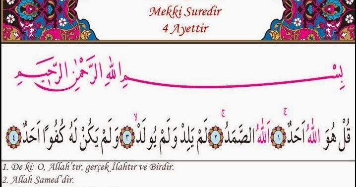 kulhuvallah duası türkçe okunuşu