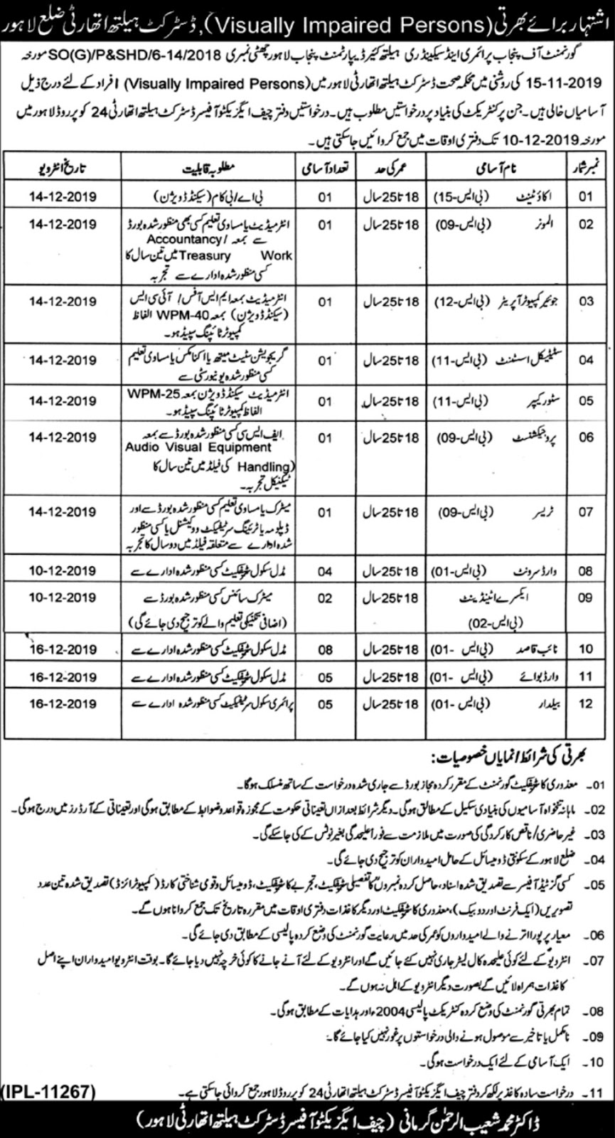 Latest District Health Authority Lahore Jobs 2019 Apply Online