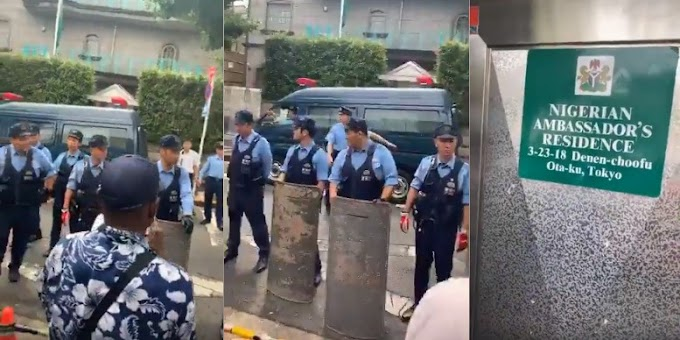 Video: IPOB members storm Nigerian Ambassador's residence with Japanese Police to 'arrest' President Buhari