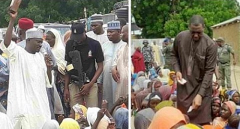 Borno Governor uses the Quran to place curses on those diverting food meant for IDPs