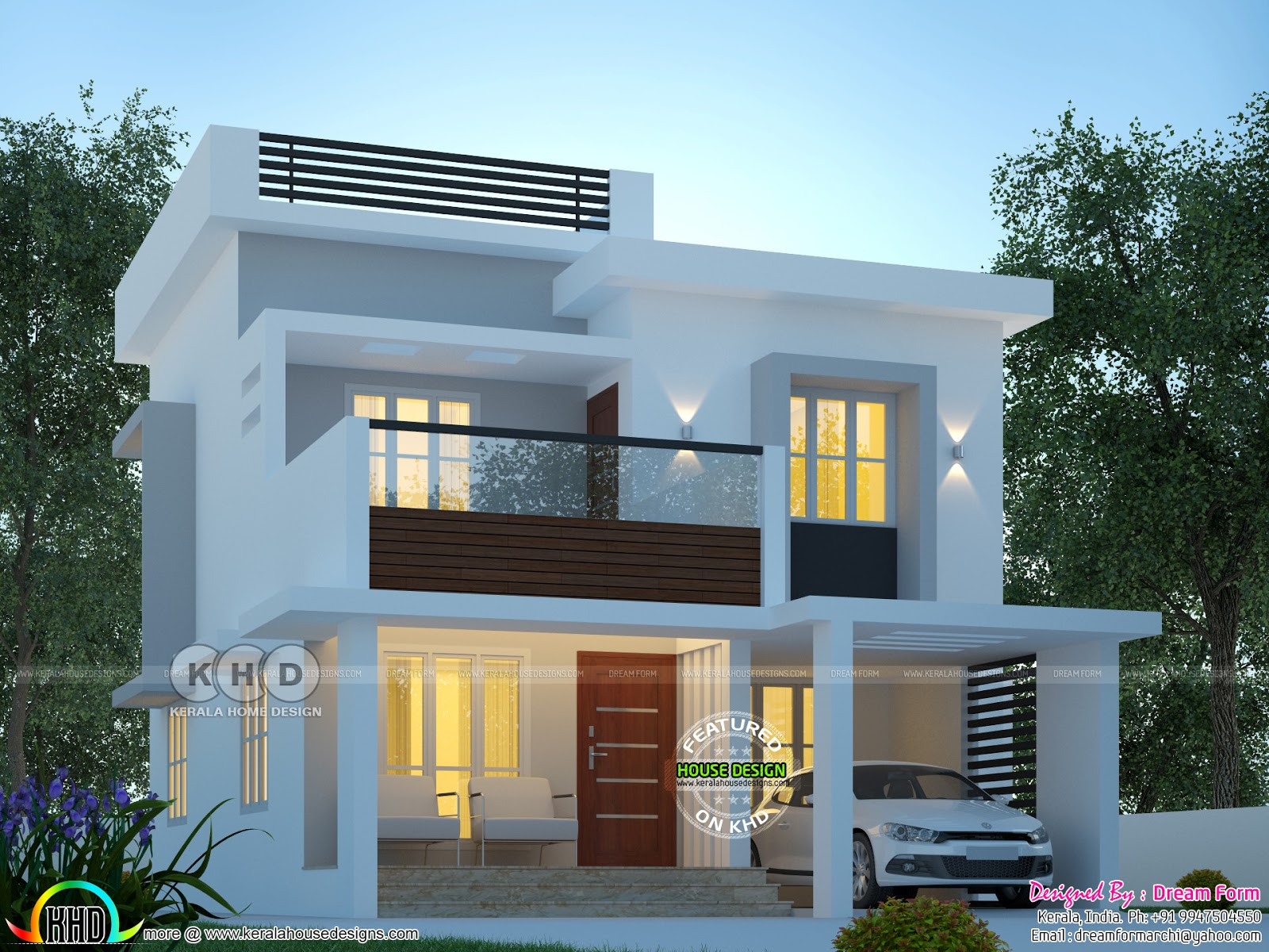 1600 Sq Ft Modern Home Plan With 3 Bedrooms Kerala Home