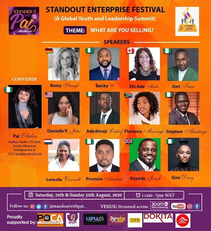 "Jimi Tewe, Pat Obilor, BankyW, Romy Stangl, Stephen Akintayo, others Standouts for the 2020 edition of ""Standout Enterprise Festival and Digital Awards"""