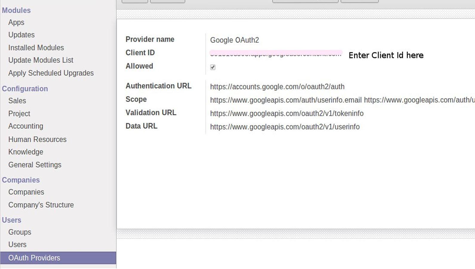 Odoo OpenERP 7 Login using Google Accounts with OAUTH Module