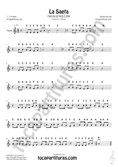 La Saeta Easy Notes Sheet Music for Flute Recorder Violin Trumpet Oboe Clarinet Alto Saxophone Tenor Sax Horns Music March Holly week Video tutorial for Flute Recorder Violin Oboe harmonic