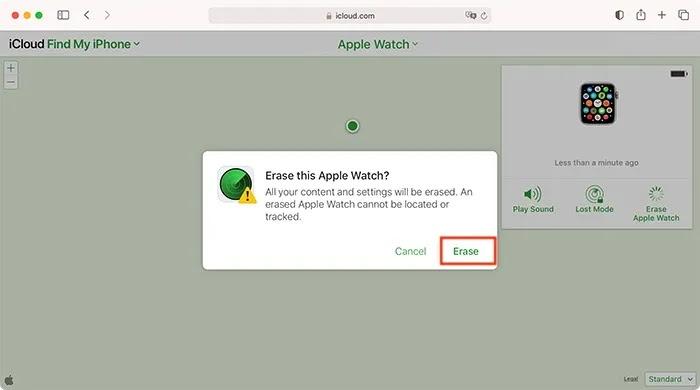 قم بإلغاء إقران Apple Watch Erasing Device Icloud
