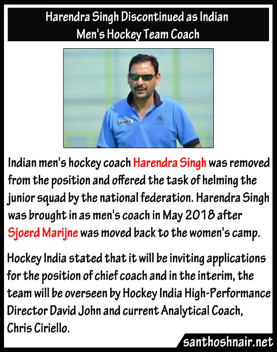 Harendra Singh discontinued as Indian Men's Hockey Team Coach