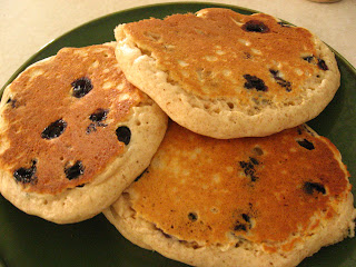 Super fast Bisquik baking mix pancakes with blueberries or chocolate chips