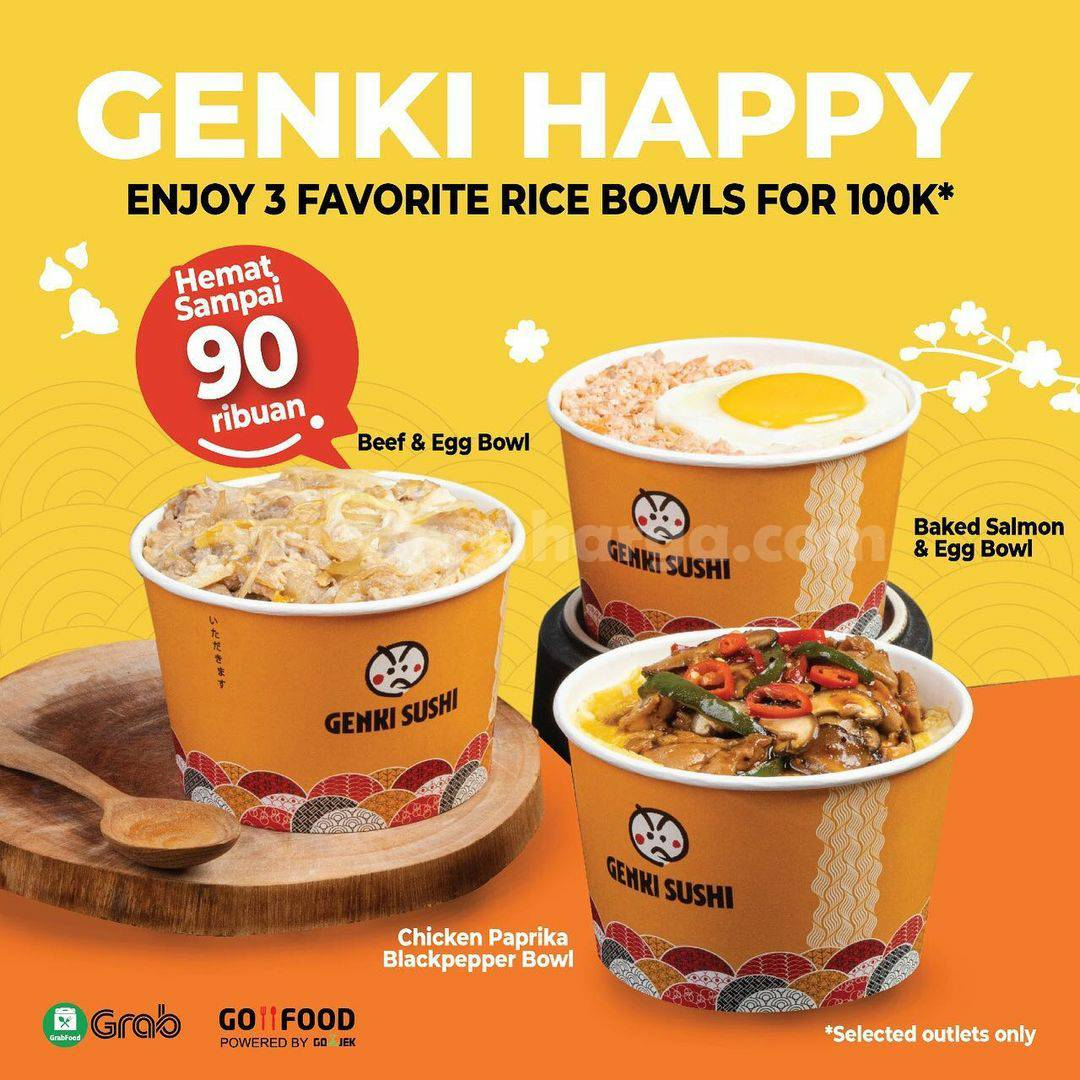Genki Sushi Oishi Promo 3 Rice Bowl hanya Rp 100.000 berlaku mulai 9 April 2021.