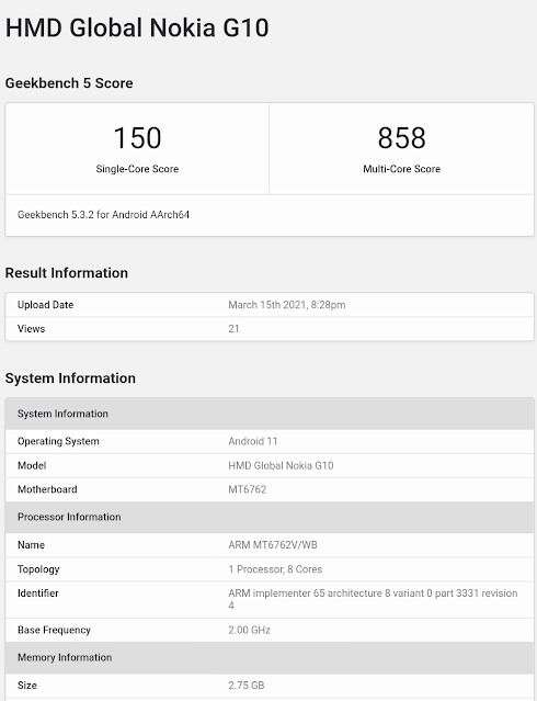 Nokia G10 appears on Geekbench
