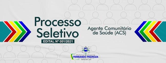 Prefeitura de Fernando Pedroza lança edital de processo seletivo para Agente Comunitário de Saúde com salário de R$ 1.550,00
