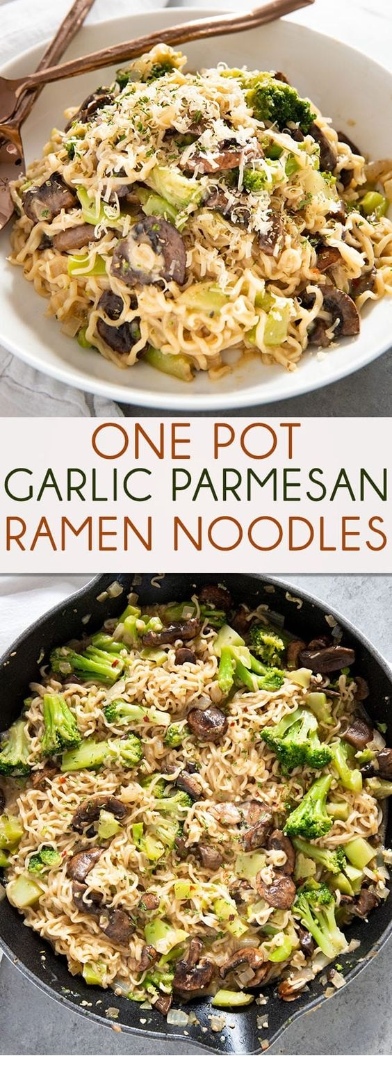 One Pan Garlic Parmesan Ramen Noodles