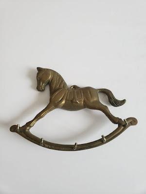 Vintage Brass Rocking Horse Wall Mounted Hanger