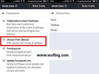 Cara Mengubah Ukuran Font di fb lite