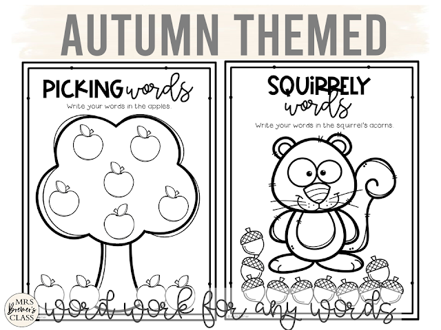 Fall themed spelling word work activities for ANY words Kindergarten First Grade Second Grade