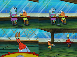 Polosan meme spongebob dan patrick 112 - tuan krab jengkel dengan anak kecil