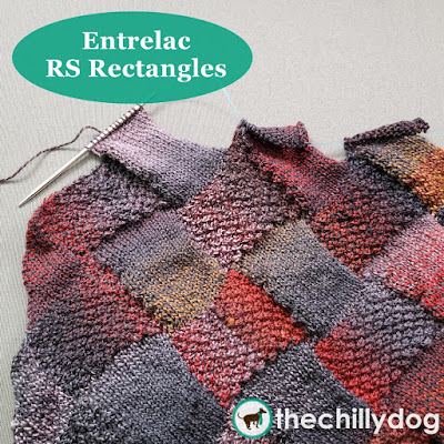 Entrelac Knitting Video Tutorial - RS Rectangles: When you are working a row of rectangles and the stitches are picked up with the right side (RS) of your work facing, they are called  RS rectangles