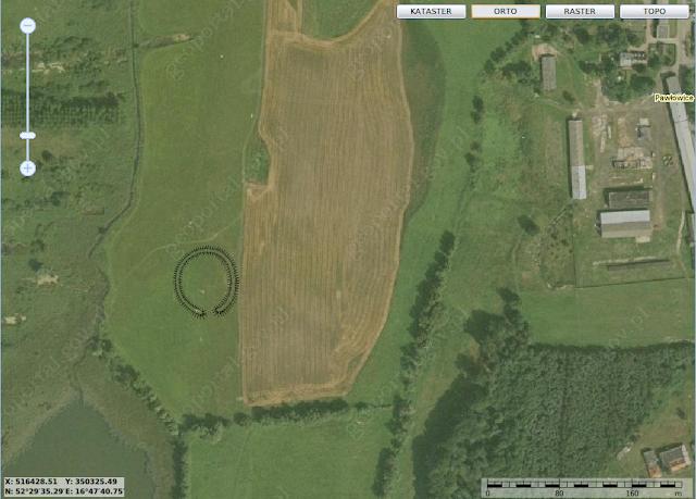 Lokalizacja niestniejącego grodziska we wsi Pawłowice u brzegu jeziora Kierskiego małego